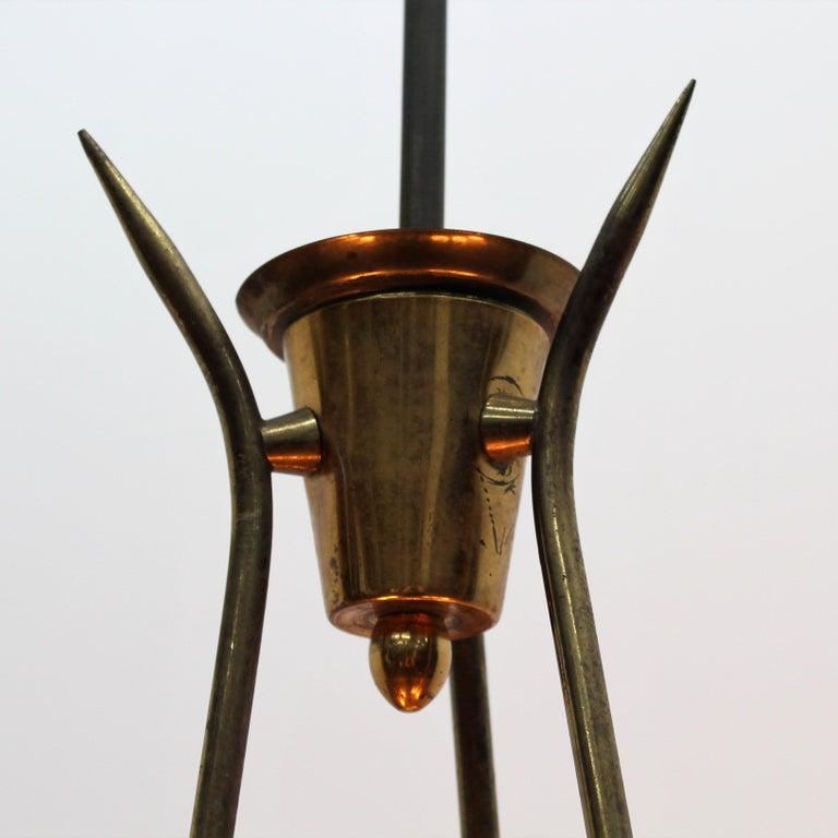 Midcentury Stilnovo Brass and Opaline Glass Chandelier, 1950s, Italy For Sale 8