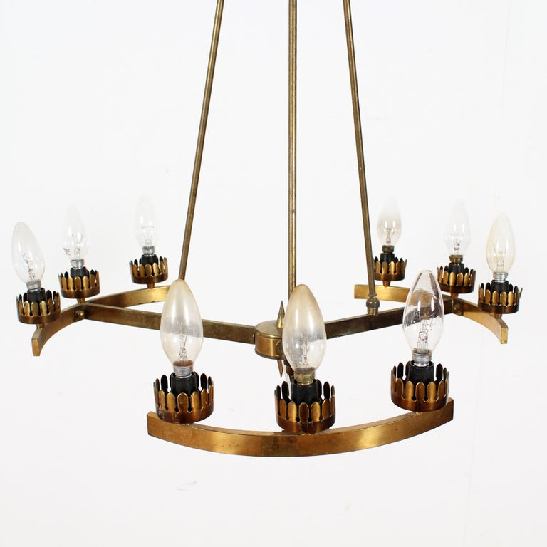 Mid-20th Century Midcentury Stilnovo Brass and Opaline Glass Chandelier, 1950s, Italy For Sale