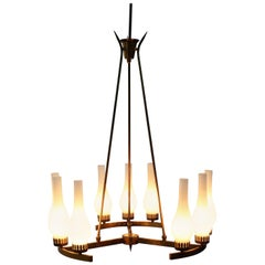 Midcentury Stilnovo Brass and Opaline Glass Chandelier, 1950s, Italy