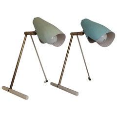 Midcentury Stilnovo Brass Table or Wall Lamps with Green Reflector Milano, 1950s