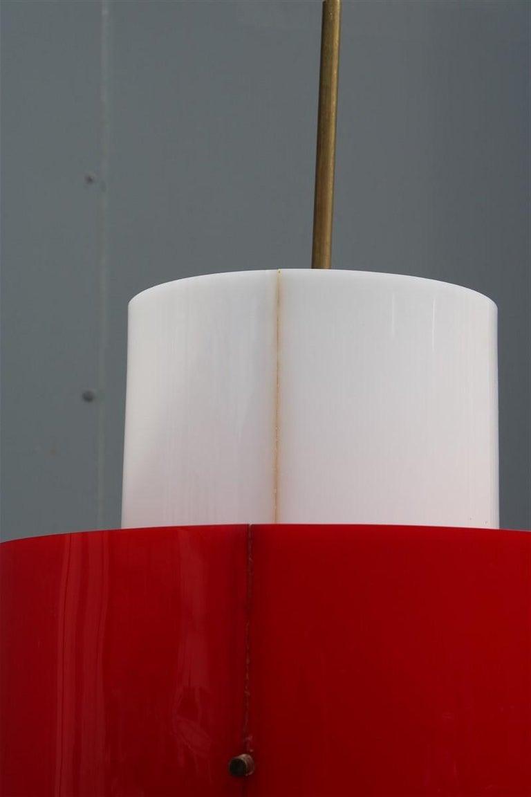 Mid-century Stilnovo Floor Lamp Italian Design Red White Brass Plexiglass  For Sale 6