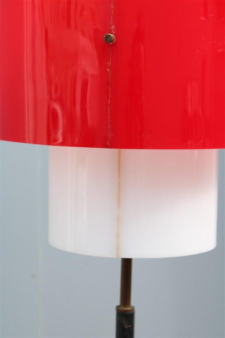 Mid-century Stilnovo Floor Lamp Italian Design Red White Brass Plexiglass  For Sale 7