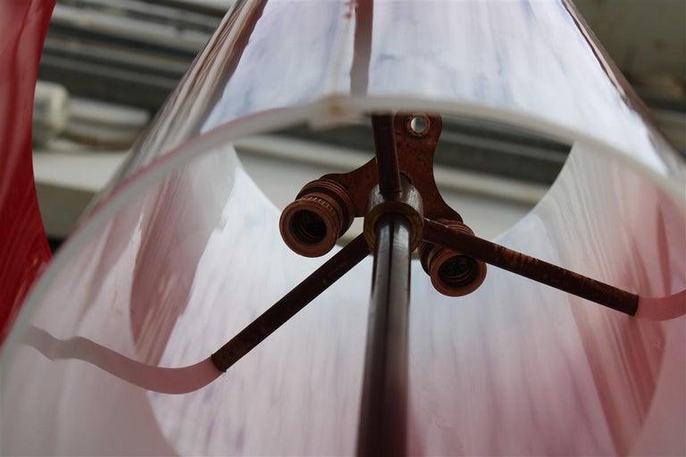 Mid-century Stilnovo Floor Lamp Italian Design Red White Brass Plexiglass  For Sale 9