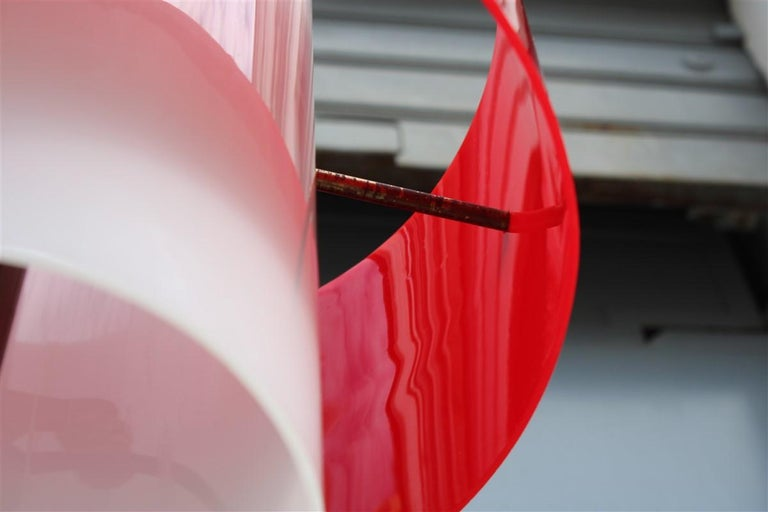 Mid-century Stilnovo Floor Lamp Italian Design Red White Brass Plexiglass  For Sale 10