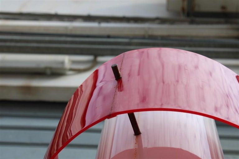 Mid-century Stilnovo Floor Lamp Italian Design Red White Brass Plexiglass  For Sale 11
