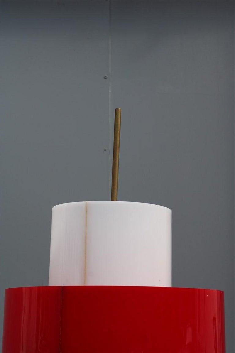 Mid-century Stilnovo Floor Lamp Italian Design Red White Brass Plexiglass  For Sale 12