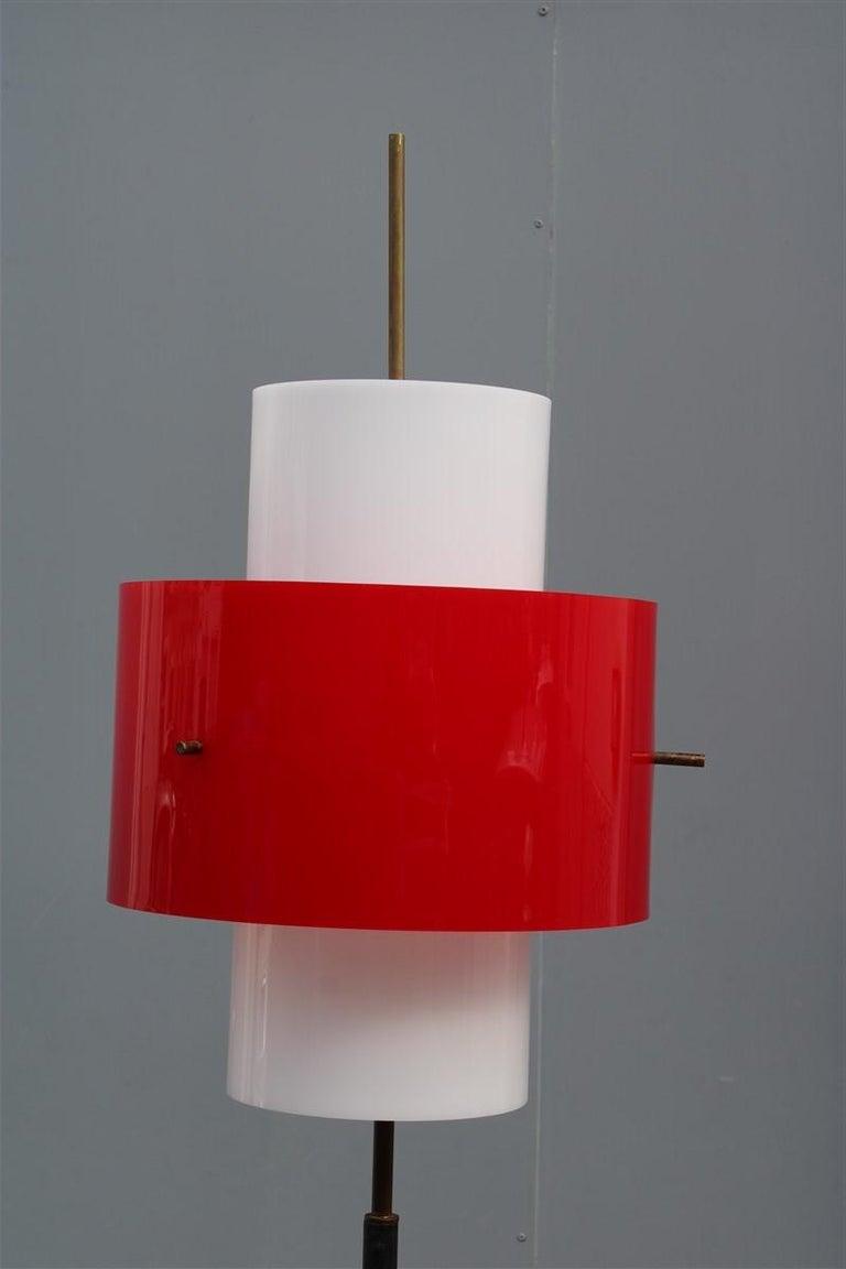 Mid-Century Modern Mid-century Stilnovo Floor Lamp Italian Design Red White Brass Plexiglass  For Sale