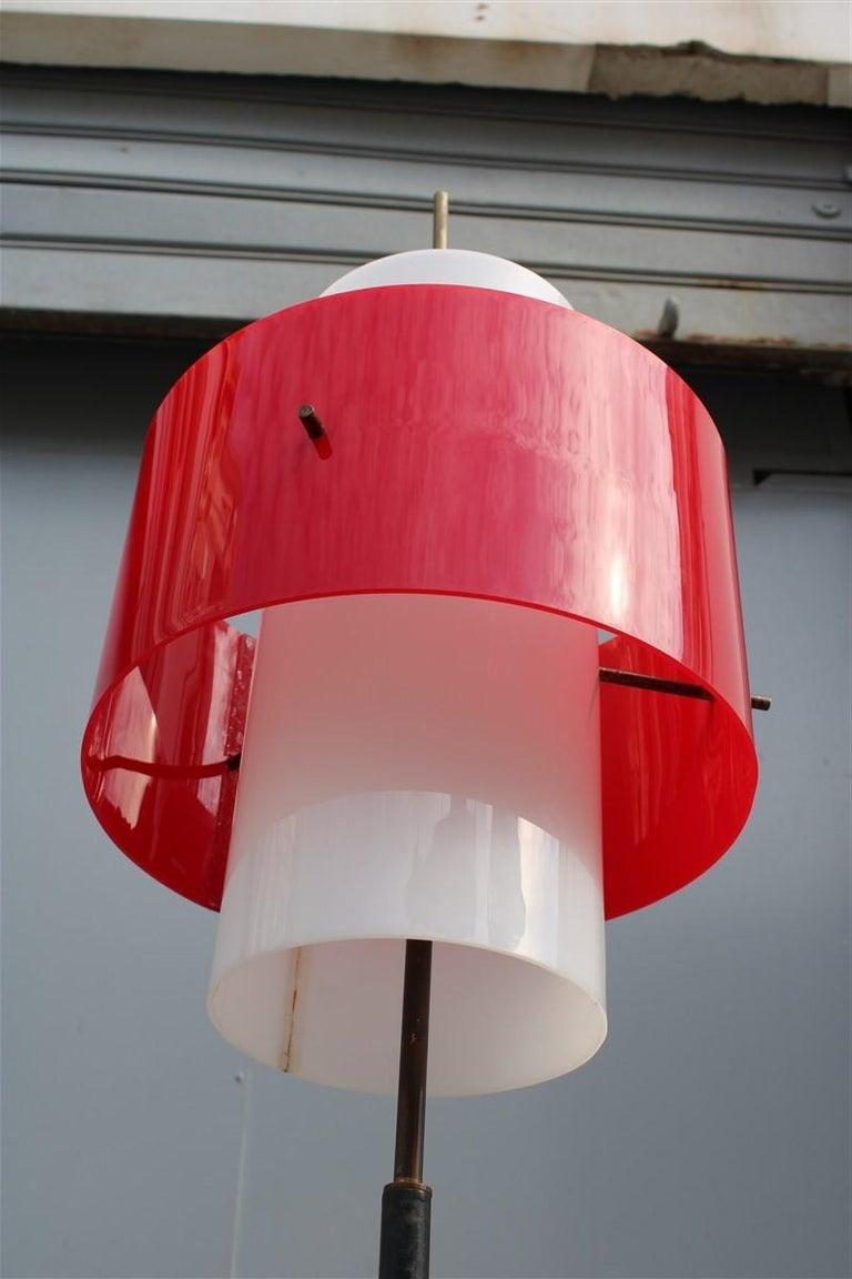 Mid-century Stilnovo Floor Lamp Italian Design Red White Brass Plexiglass  For Sale 4