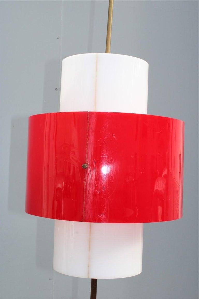 Mid-century Stilnovo Floor Lamp Italian Design Red White Brass Plexiglass  For Sale 5
