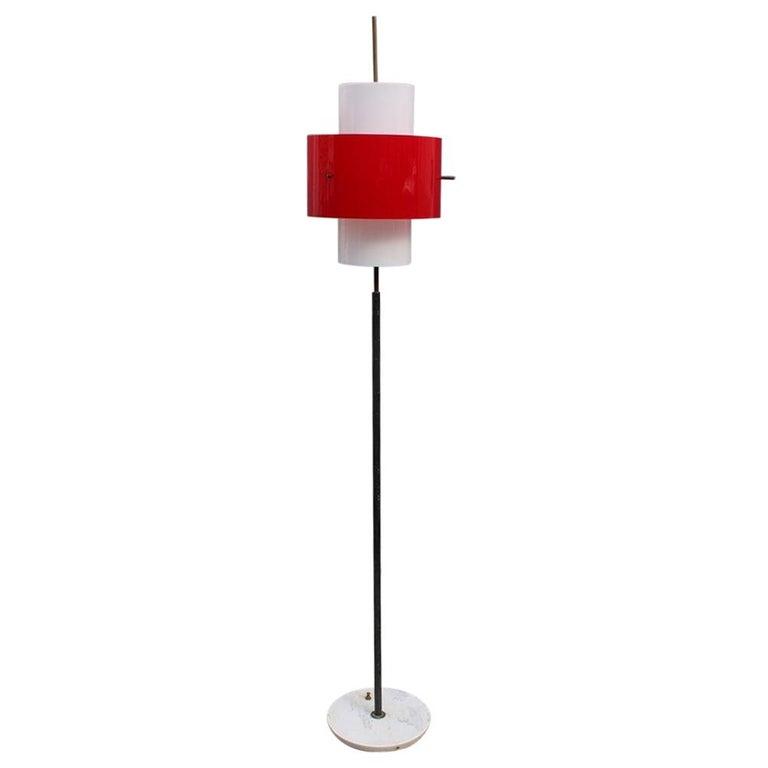 Mid-century Stilnovo Floor Lamp Italian Design Red White Brass Plexiglass  For Sale