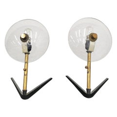 Mid-Century Stilux Milano Set of 2 Glass Brass Table Lamp Italy, 1950s