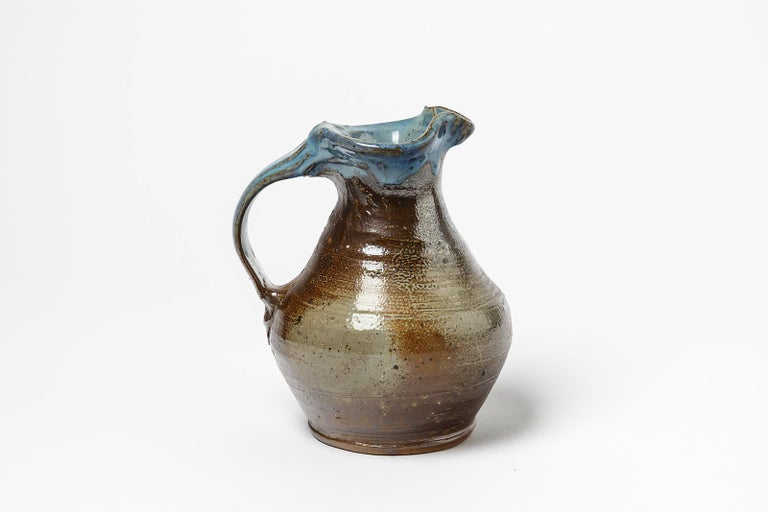 French Midcentury Stoneware Ceramic Pitcher by Jean Linard Blue and Brown La Borne For Sale