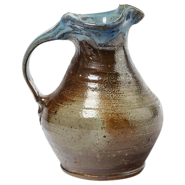 Midcentury Stoneware Ceramic Pitcher by Jean Linard Blue and Brown La Borne For Sale