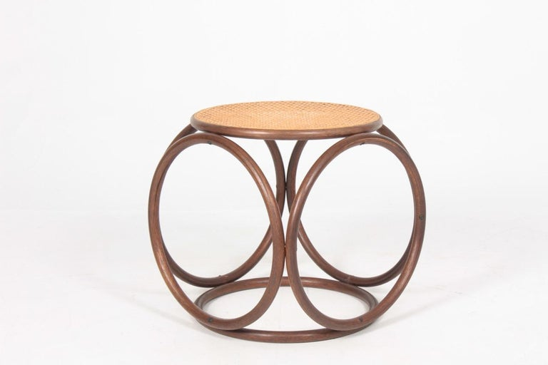 Stool in beech with seat in cane. Designed by Michael Thonet, 1950s.