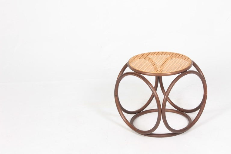 Midcentury Stool with Cane Seat Designed Michael Thonet In Good Condition For Sale In Lejre, DK