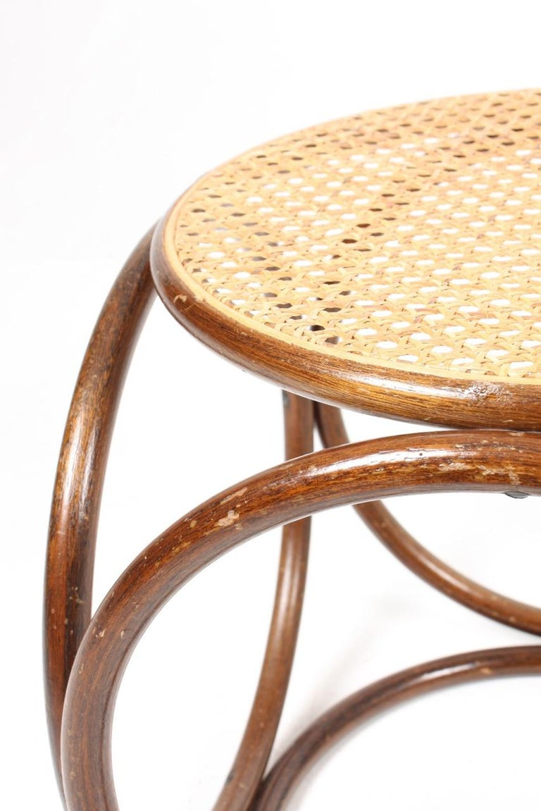 Midcentury Stool with Cane Seat Designed Michael Thonet For Sale 1