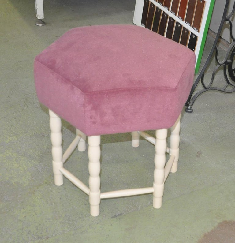 Stool from the turn of the 1950s and 1960s. Beautiful mallow velvet upholstery. Available 10 st. We can also in another color of fabric and wood.