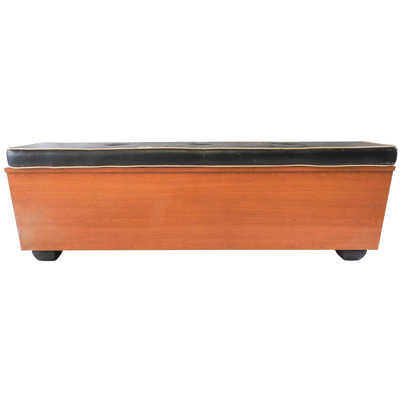 Midcentury Storage Bench with Cushion
