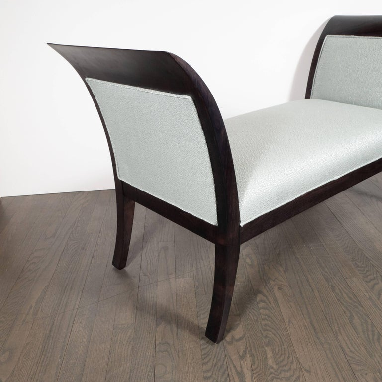 American Midcentury Streamlined Bench in Ebonized Walnut and Powder Blue Woven Fabric For Sale