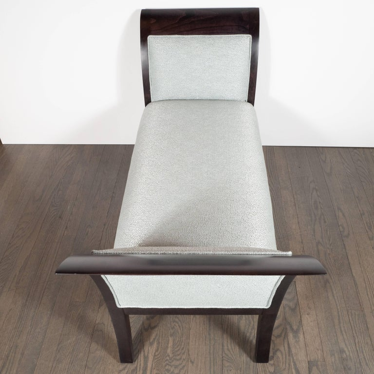 Midcentury Streamlined Bench in Ebonized Walnut and Powder Blue Woven Fabric For Sale 1