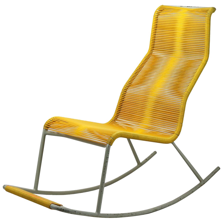 Mid Century String Tubular Rocking Chair, 1960s