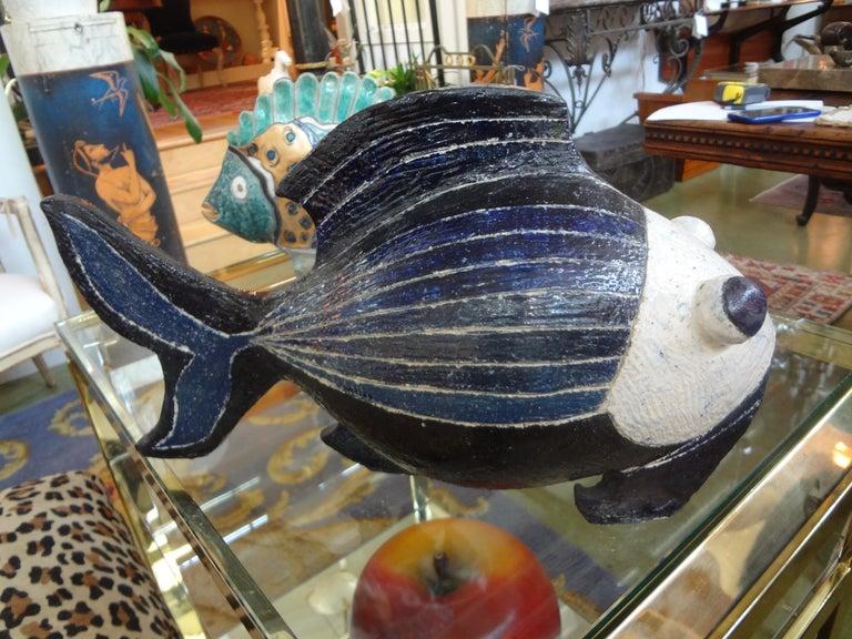 Hollywood Regency Midcentury Studio Art Pottery Fish Sculpture For Sale