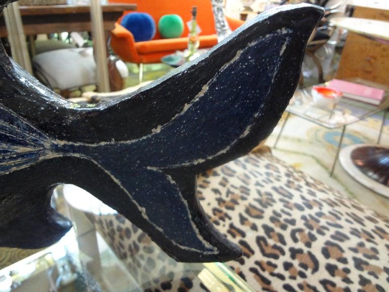 20th Century Midcentury Studio Art Pottery Fish Sculpture For Sale