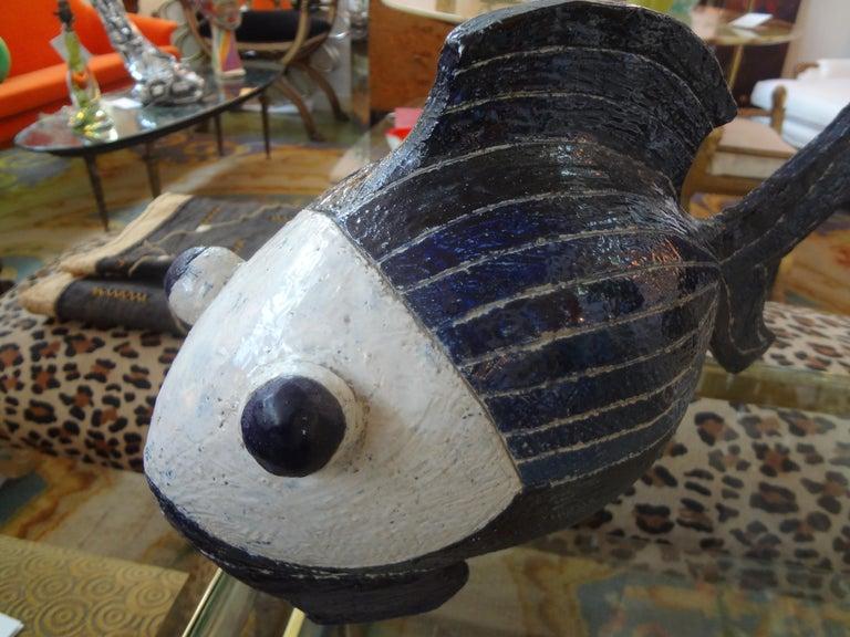 Midcentury Studio Art Pottery Fish Sculpture For Sale 1