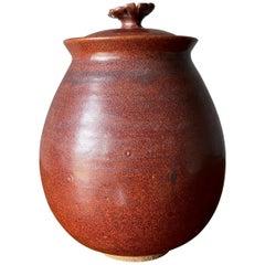 Mid Century Studio Pottery Lidded Ceramic Jar