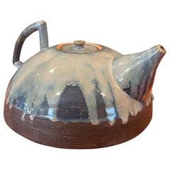 Mid-Century Studio Pottery Tea Pot with Blue Lava Glaze