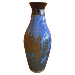 Mid-Century Studio Pottery Vase with Blue Drip Glaze