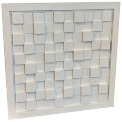 """Midcentury """"Study in White"""" Three-Dimensional Cube Wall Sculpture"""