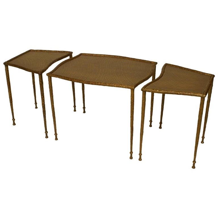 Mid-Century Style American Sectional Bronze Coffee Table For Sale