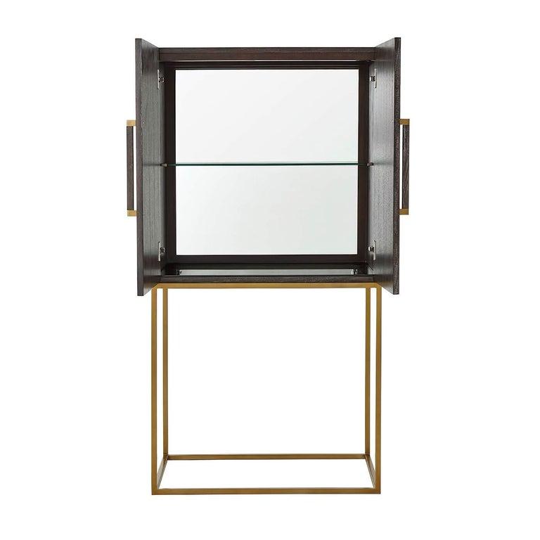 Mid-Century Modern Midcentury Style Bar Cabinet, Dark For Sale