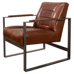 Mid Century Style Boxed Frame Leather Armchair
