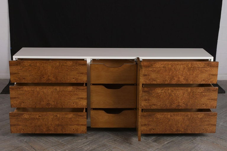 Hand-Crafted Mid Century Modern Burl Credenza For Sale