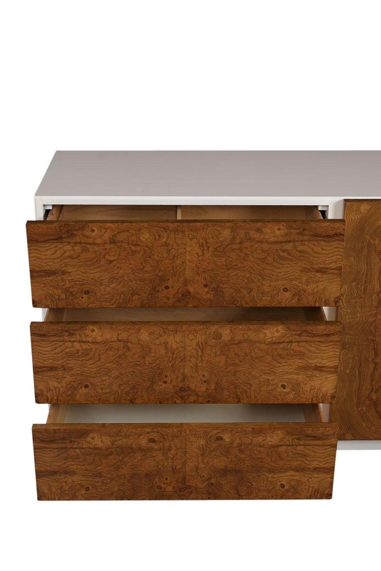 Wood Mid Century Modern Burl Credenza For Sale