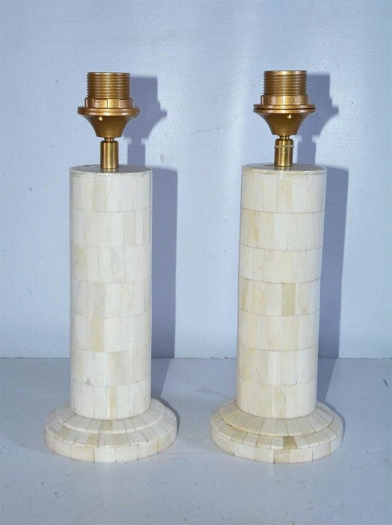 Organic Modern Midcentury Style Column Shape Bone Mosaic Lamps For Sale