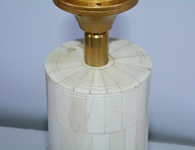 Midcentury Style Column Shape Bone Mosaic Lamps In New Condition For Sale In Great Barrington, MA