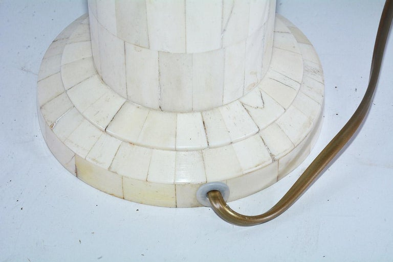 Contemporary Midcentury Style Column Shape Bone Mosaic Lamps For Sale
