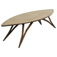 Midcentury Style Curved American Nut Coffee Table