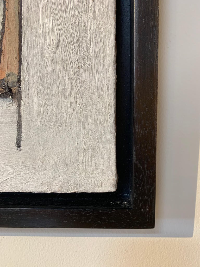Contemporary Midcentury Style Diptych Painting, New Floating Walnut Frame For Sale
