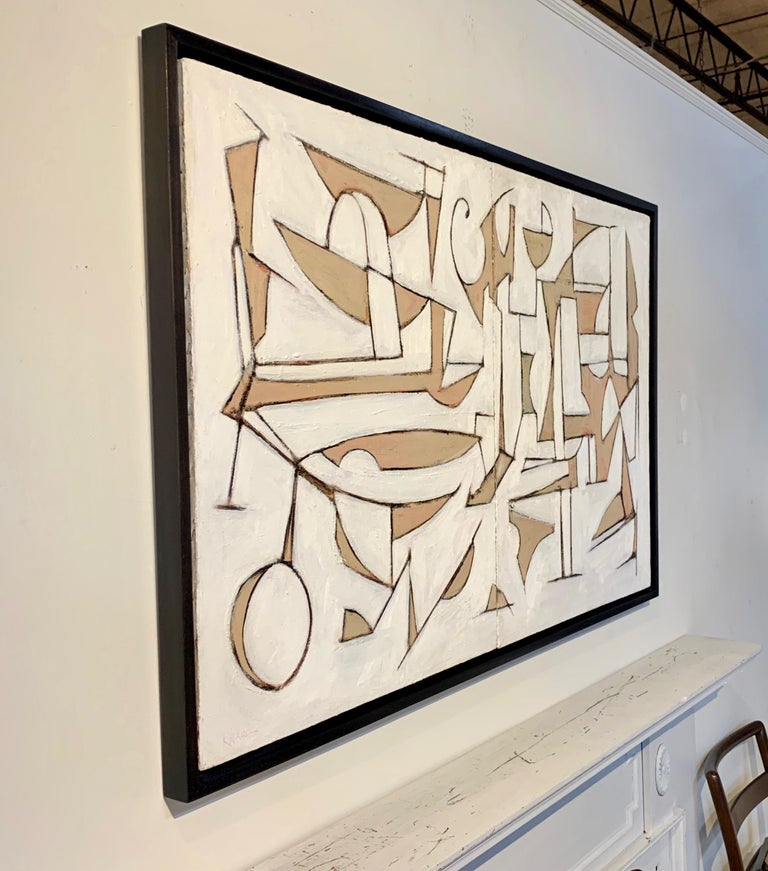 Midcentury Style Diptych Painting, New Floating Walnut Frame For Sale 1