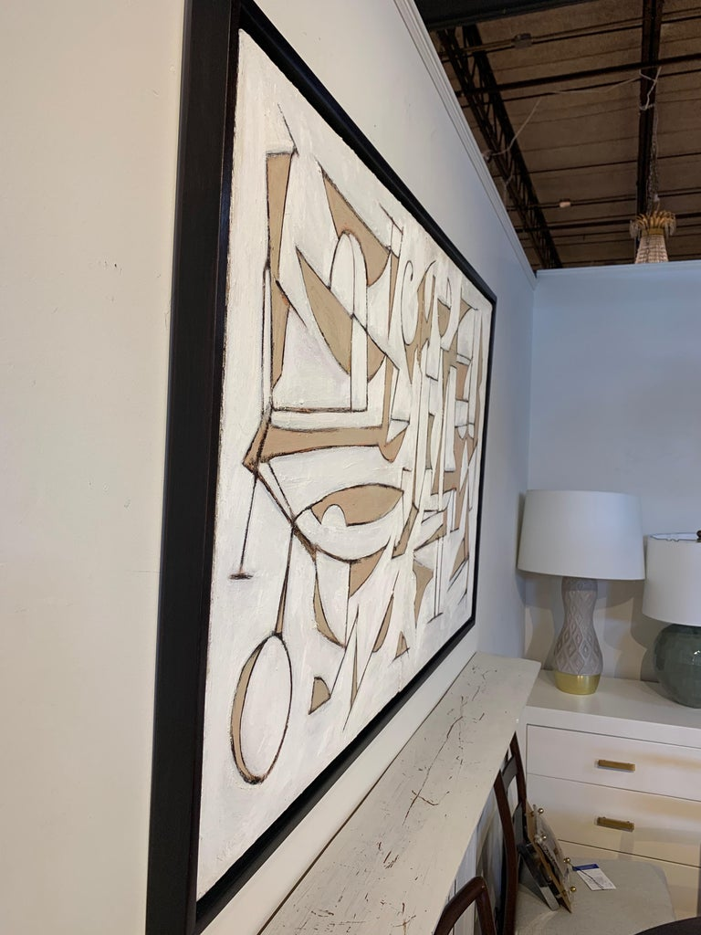 Midcentury Style Diptych Painting, New Floating Walnut Frame For Sale 2