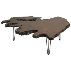 Mid Century Style Free Edge Live Edge Redwood Coffee Table