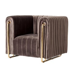 Midcentury Style Gilded Metal and Velvet Armchair