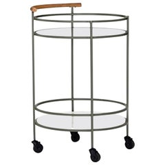 Midcentury Style Iron, Glass, Teak and Marble Circular Bar Cart on Casters