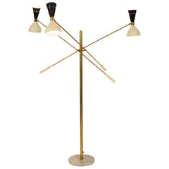 Midcentury Style Italian Adjustable Three-Arm Brass and Marble Floor Lamp