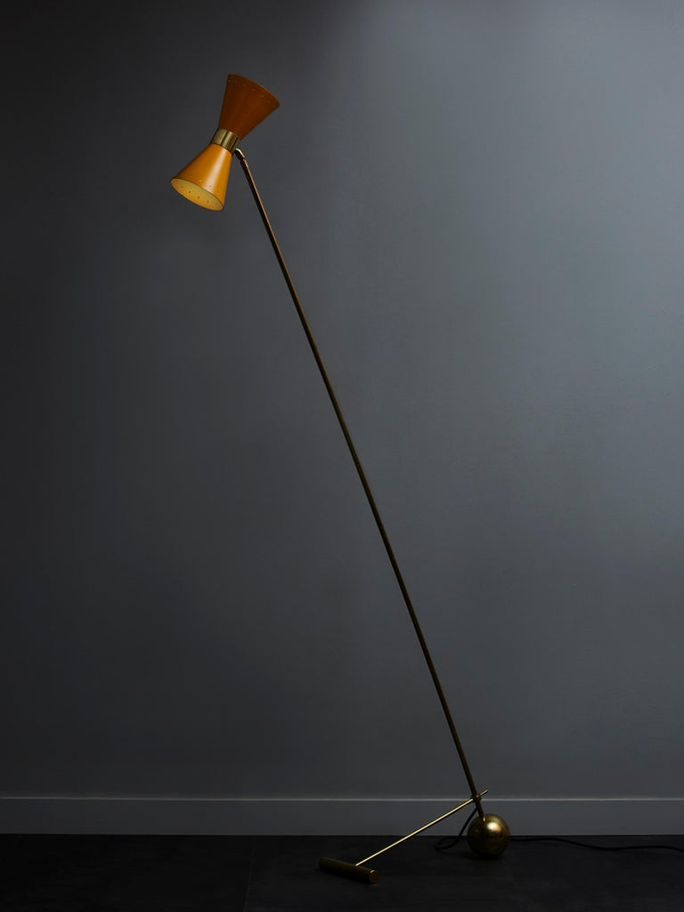 Mid-Century Modern Midcentury Style Italian Brass Floor Lamp with Yellow Cones Shades For Sale