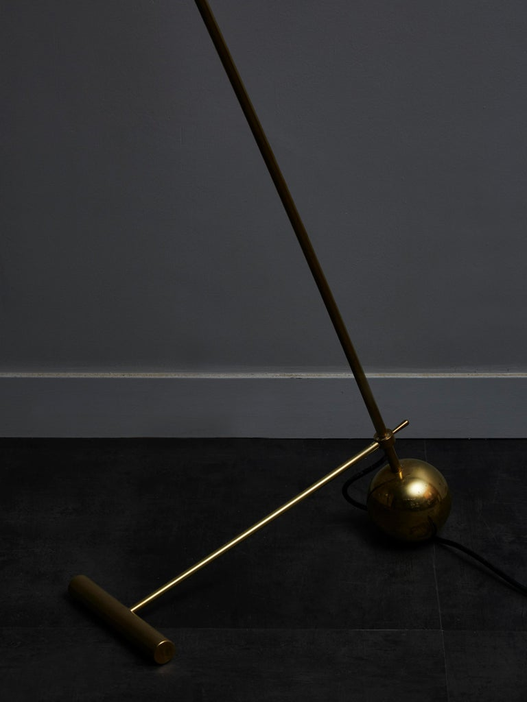 Late 20th Century Midcentury Style Italian Brass Floor Lamp with Yellow Cones Shades For Sale